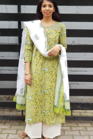 Green mul top with kota dupatta