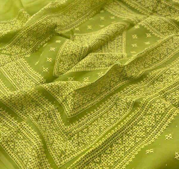 Green organza kutch work saree border2