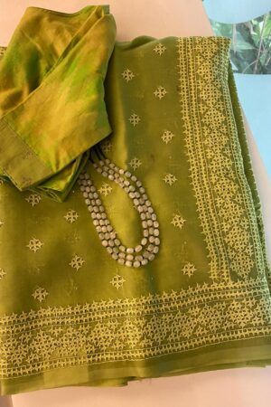 Green organza kutch work saree1