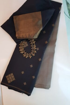 Grey and black half half kanchipuram silk saree