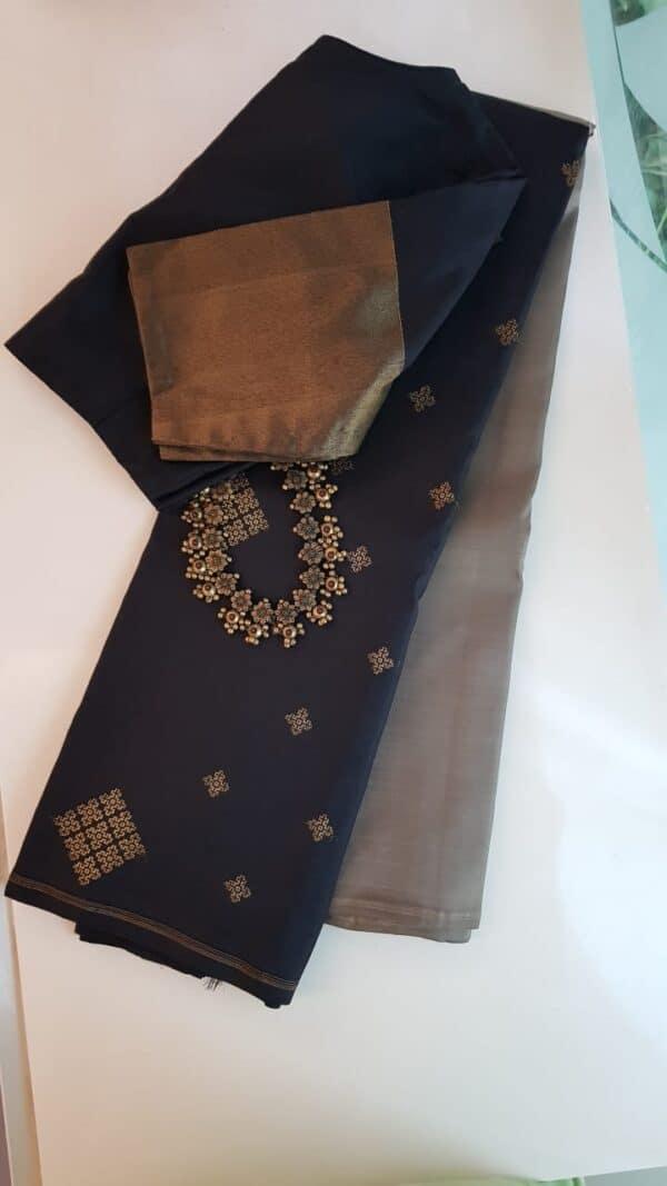 Grey and black half half kanchipuram silk saree