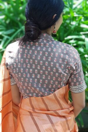Grey and orange cotton blouse1
