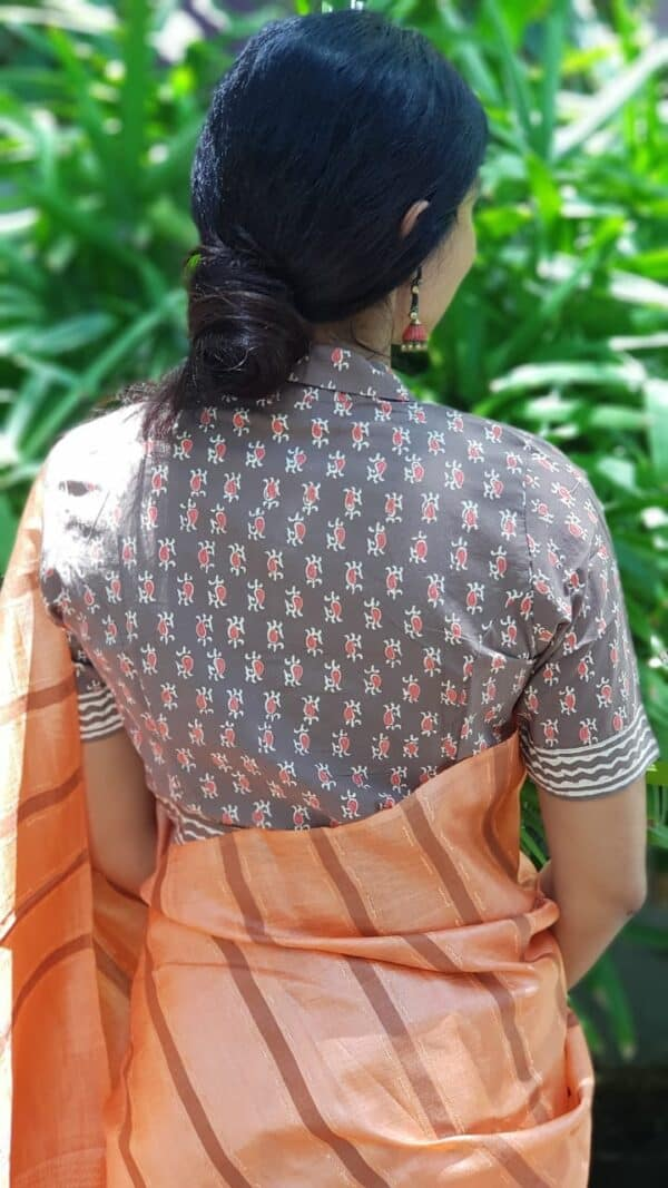 Grey and orange cotton blouse1