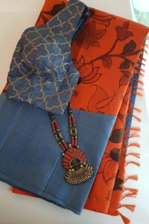 Grey and orange kanchipuram kalamkari saree