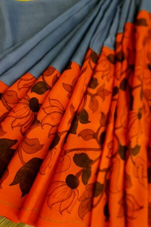 Grey and orange kanchipuram kalamkari saree1