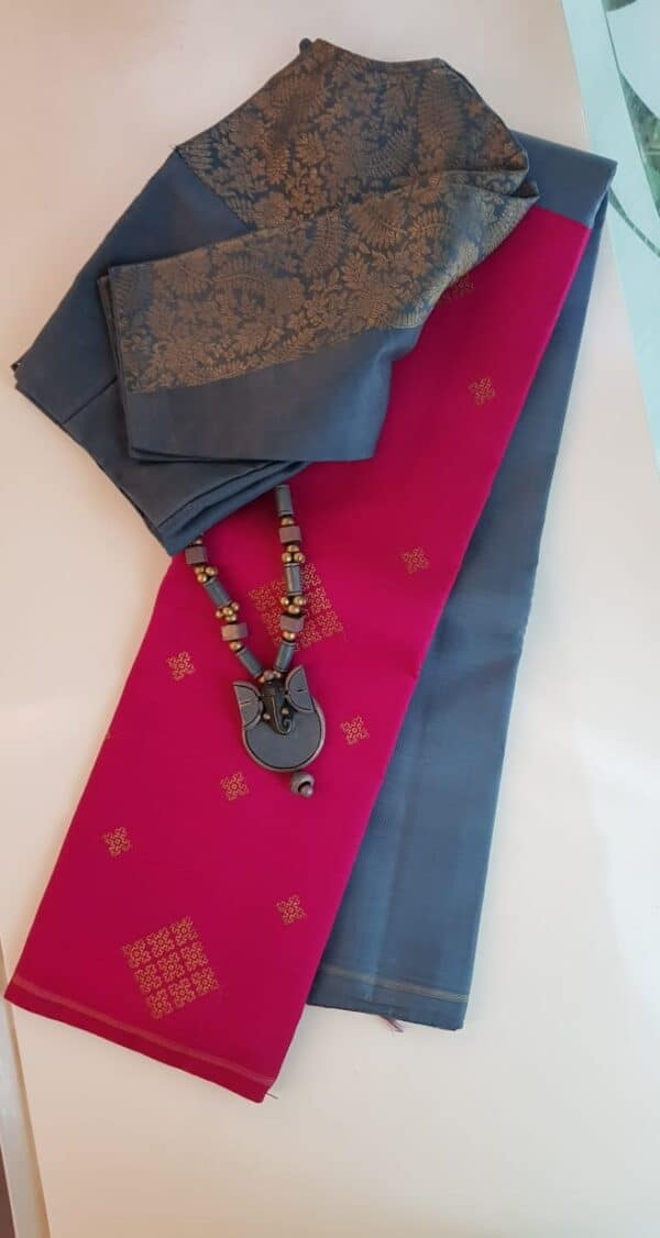 Grey and pink half half kanchipuram silk saree