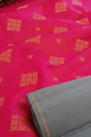 Grey and pink half half kanchipuram silk saree1