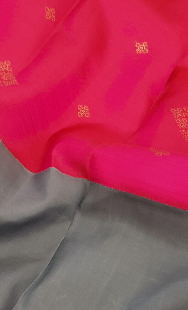 Grey and pink half half kanchipuram silk saree2