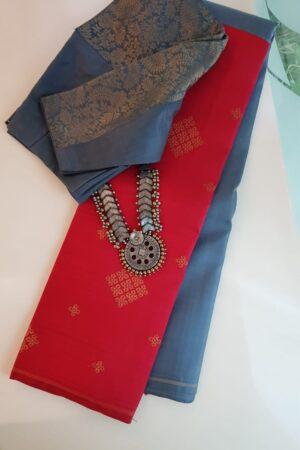 Grey and red half half kanchi puram silk saree