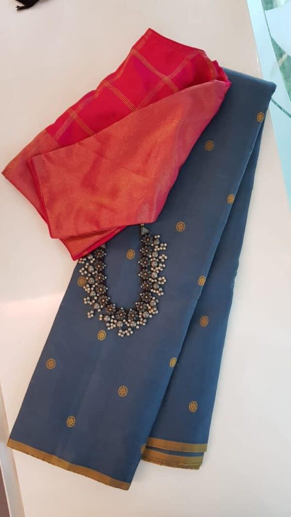 Grey kanchipuram silk saree with thread buttis
