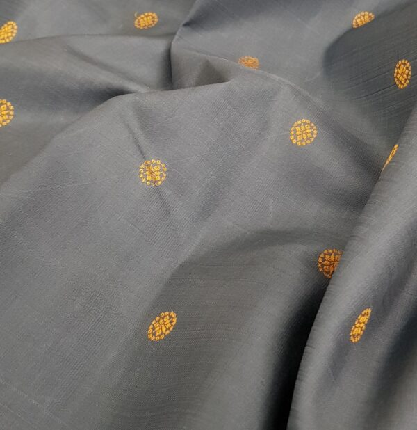 Grey kanchipuram silk saree with thread buttis1