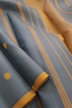 Grey kanchipuram silk saree with thread buttis2