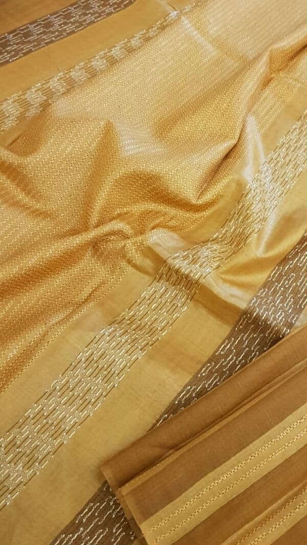 Honey mustard stripes tussar saree3