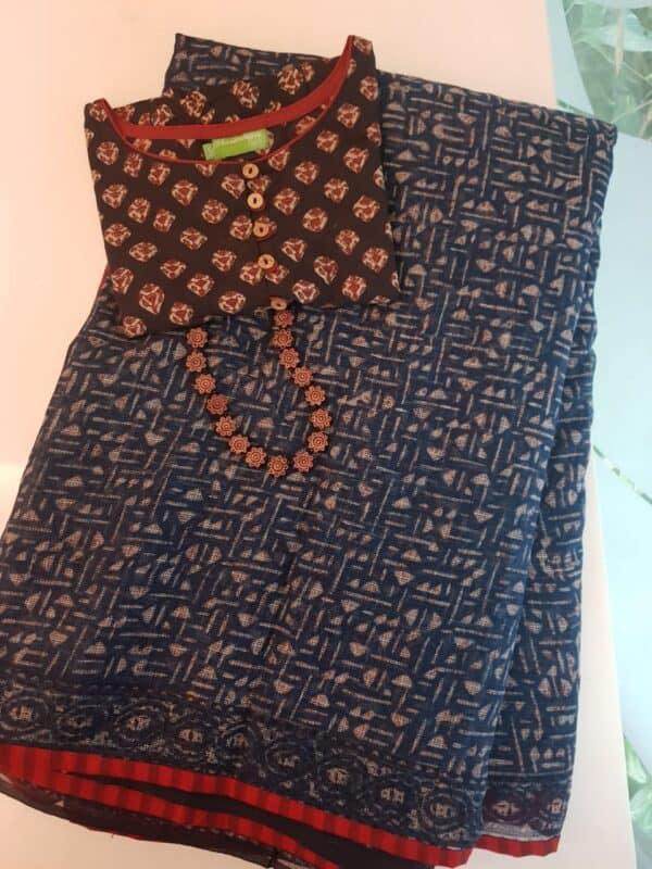Indigo blue kota saree with red border