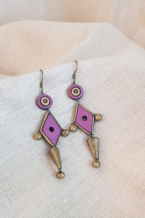 Lilac and gold earrings