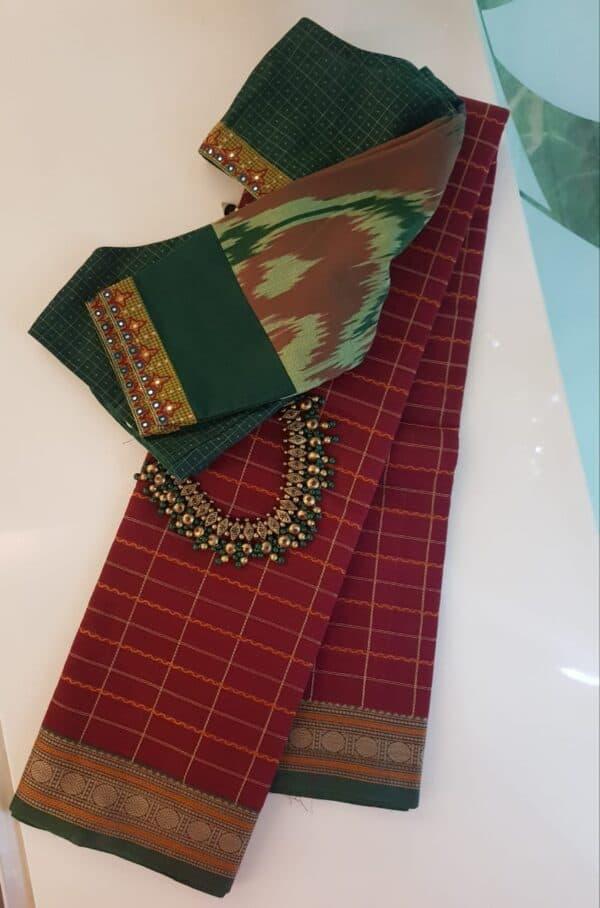 Maroon kanchi cotton saree