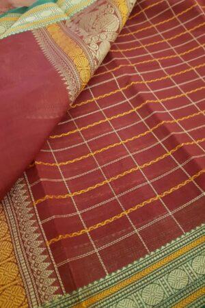 Maroon kanchi cotton saree1