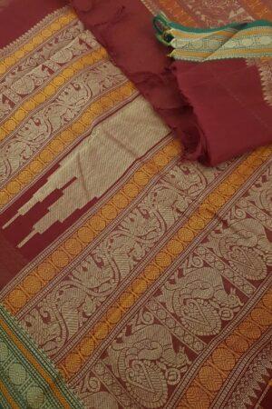 Maroon kanchi cotton saree2