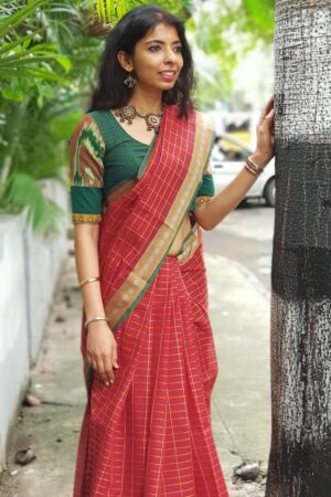 Maroon kanchi cotton saree4