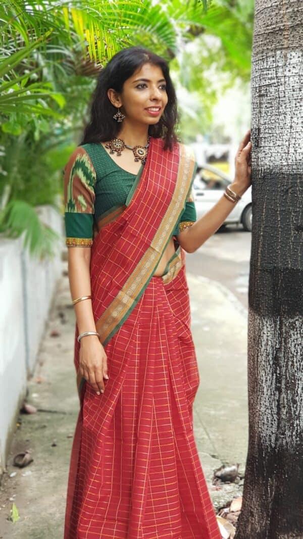 Maroon kanchi cotton saree4