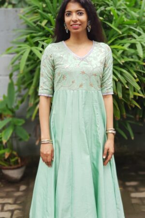 Mint green anarkali kurta