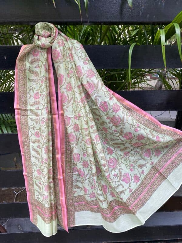 Mint green and pink chanderi dupatta