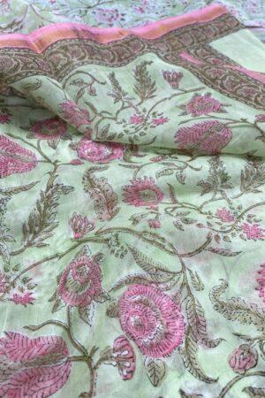 Mint green and pink chanderi dupatta