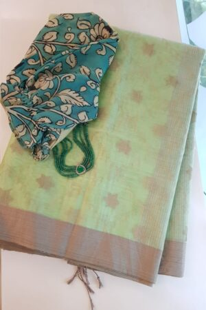Mint green organza saree