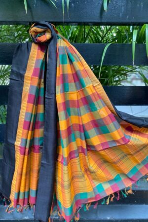 Multi colored kanchi cotton dupatta with black border