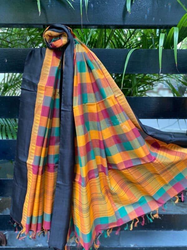 Multi colored kanchi cotton dupatta with black border