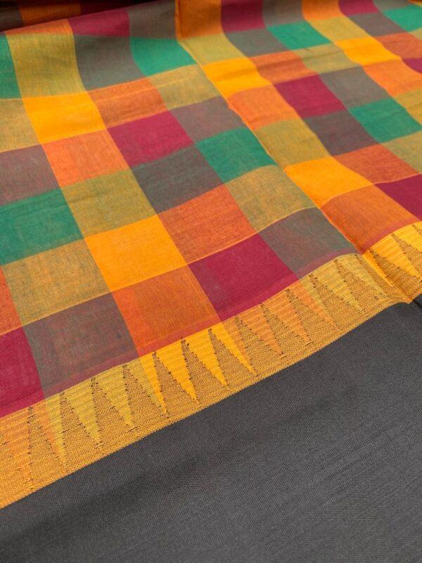 Multi colored kanchi cotton dupatta with black border1