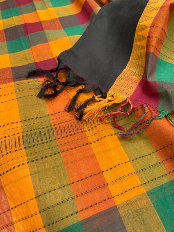 Multi colored kanchi cotton dupatta with black border2