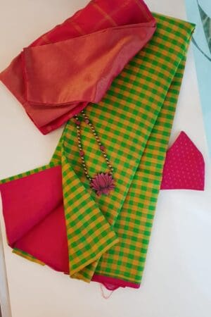 Mustard and green checks half and half with pink