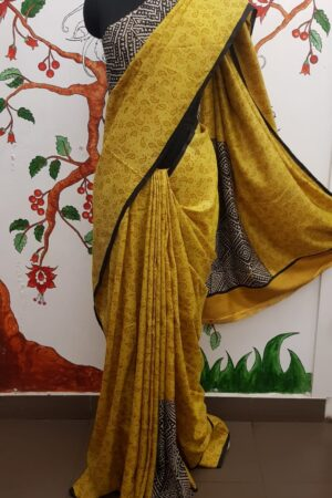 Mustard box tussar saree2