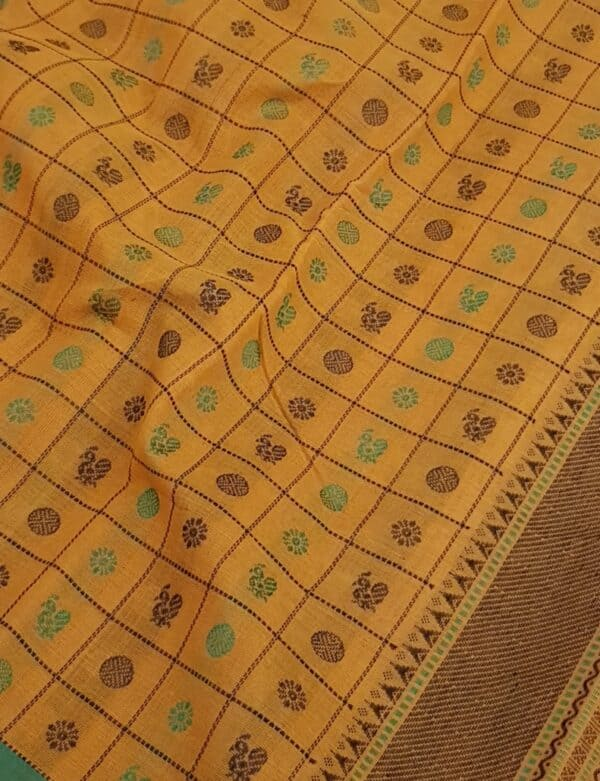 Mustard kanchi cotton saree2