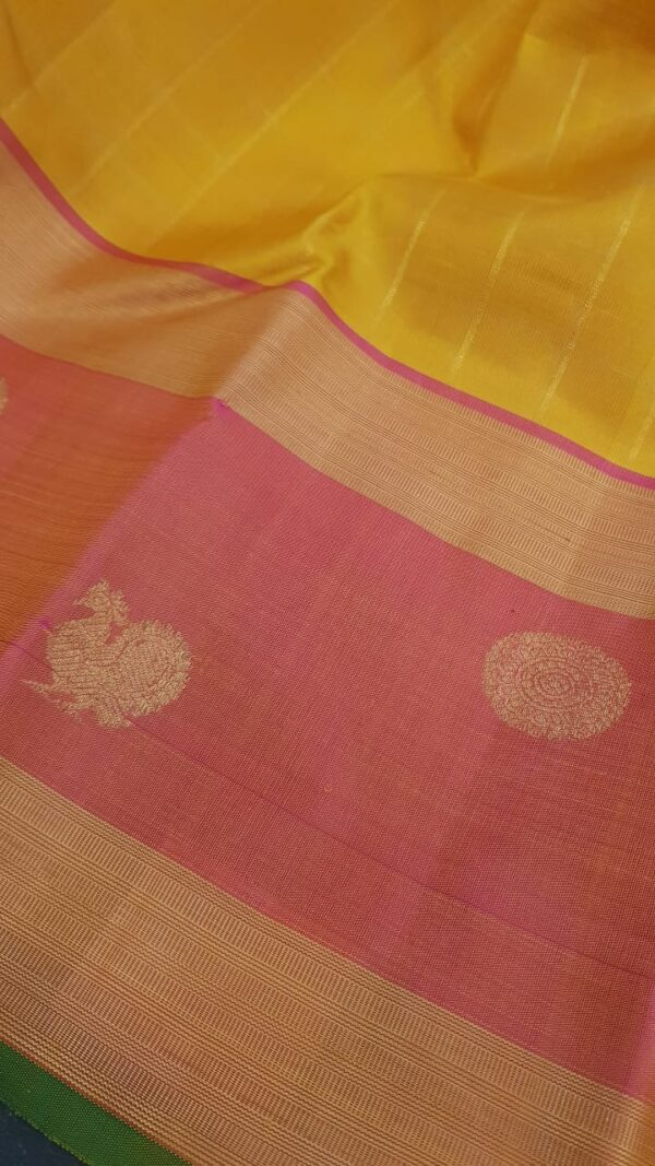 Mustard kanchipuram silk saree with peach border3