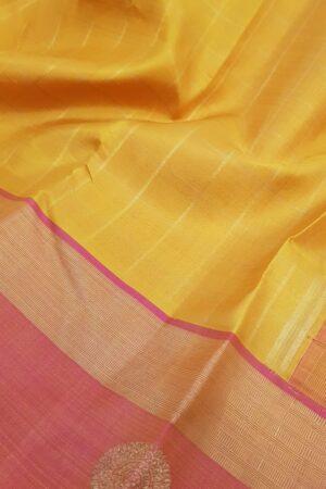 Mustard kanchipuram silk saree with peach border4
