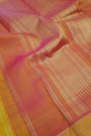 Mustard kanchipuram silk saree with peach border5