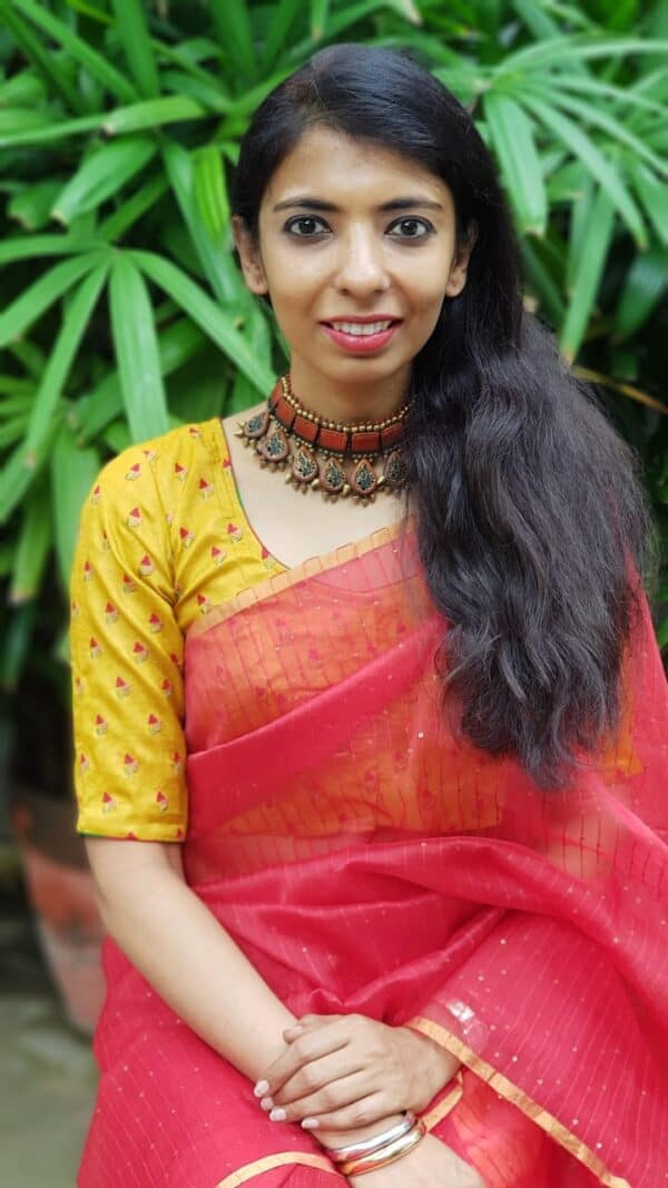Mustard tussar embroidered blouse