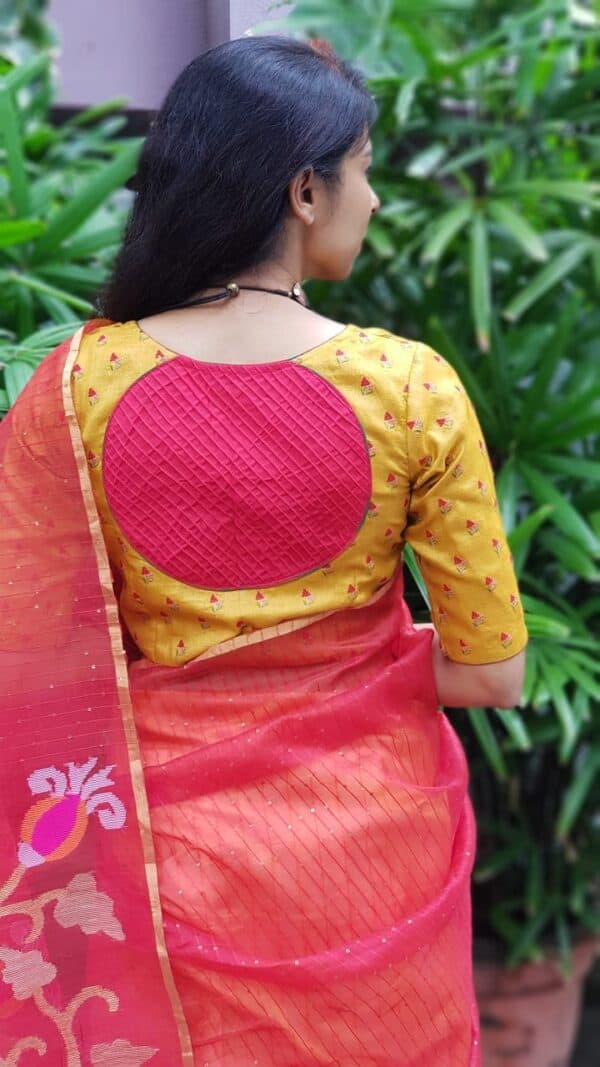 Mustard tussar embroidered blouse1