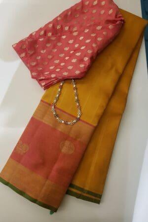 Mustard with peach border kanchipuram silk saree