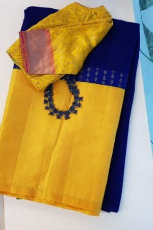 Navy blue chiffon saree with yellow border
