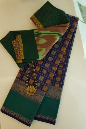 Navy blue kanchi cotton saree mayil chakram