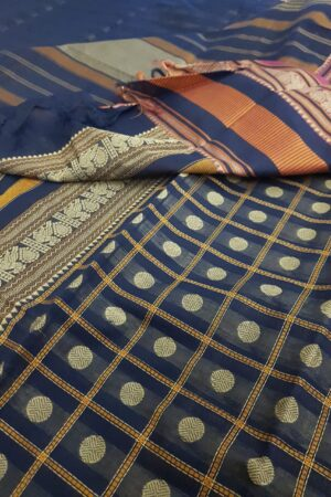 Navy blue kanchi cotton saree with checks and rudraksham2