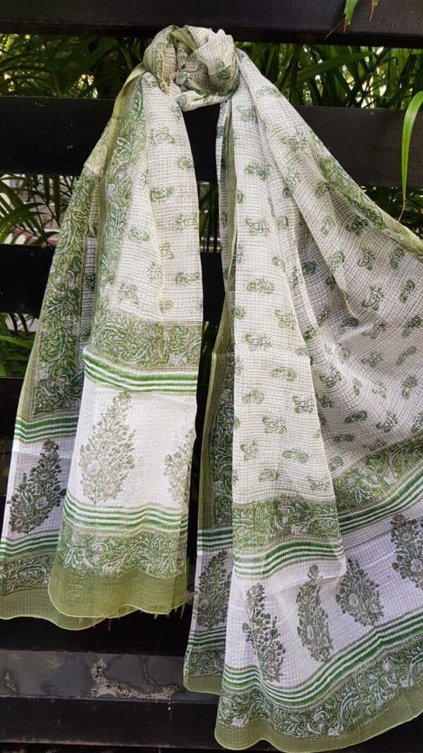 Off white and green printed kota dupatta