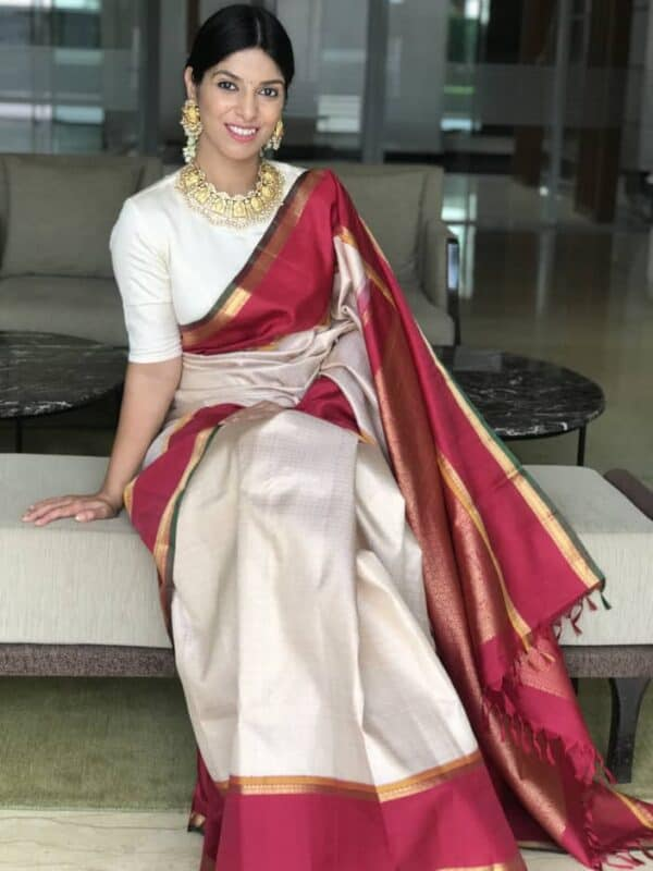 Off white kanchipuram silk saree with arakku border