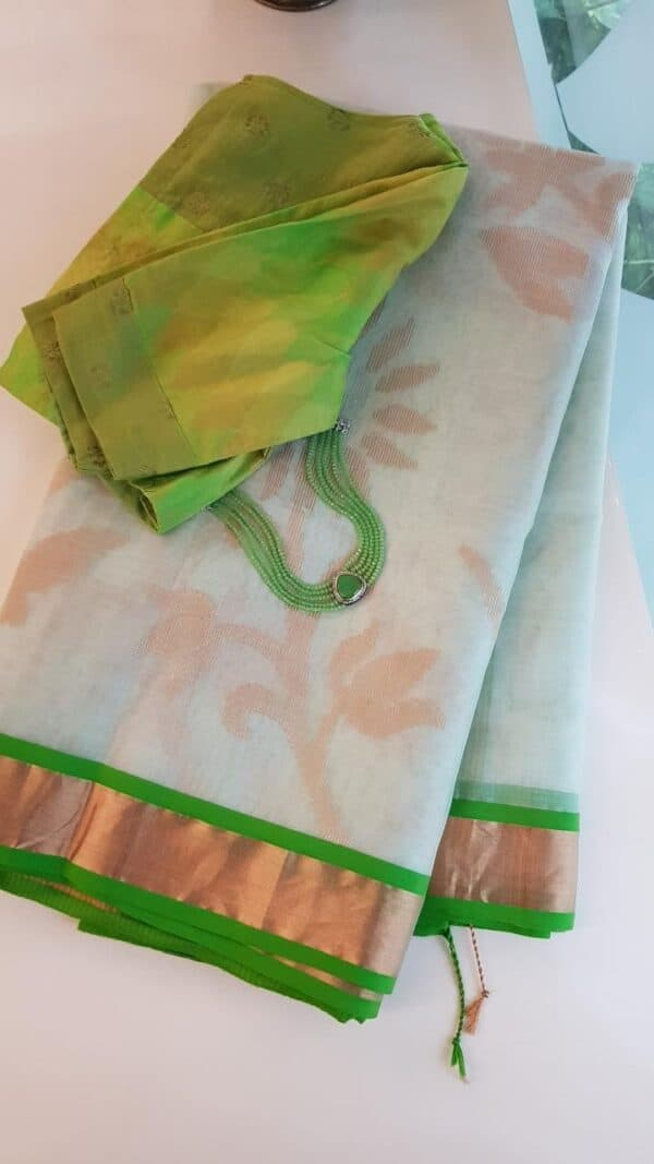 Off white organza saree with tissue border