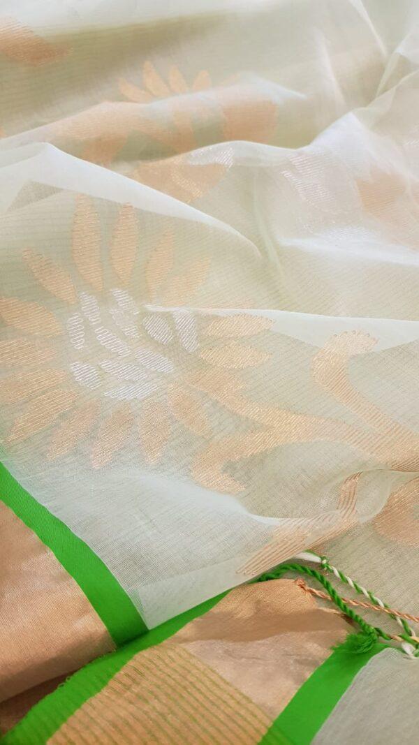 Off white organza saree with tissue border3