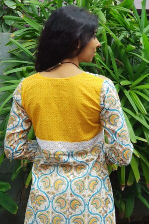 Off white yellow and blue block printed top1