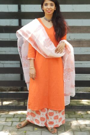 Orange cotton top with kota dupatta and mul mul bottom